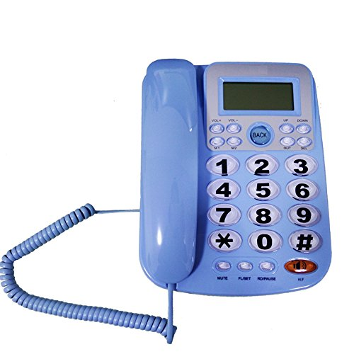 HePesTer P-34Blue Big Button Phone for Seniors Amplified Corded Phone with Caller ID for Hearing Impaired Works in Power Outage for Emergency ()