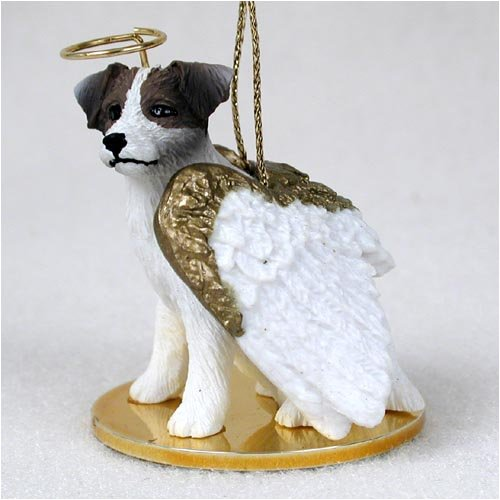 - Jack Russell Terrier Angel Dog Ornament - Roughcoat - Brown & Wh