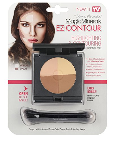 MagicMinerals EZ-Contour by Jerome Alexander - Highlight and Contour Compact, Professional Double-Ended Contour Brush and Blending Sponge - Makeup Adds Depth, Dimension and Definition