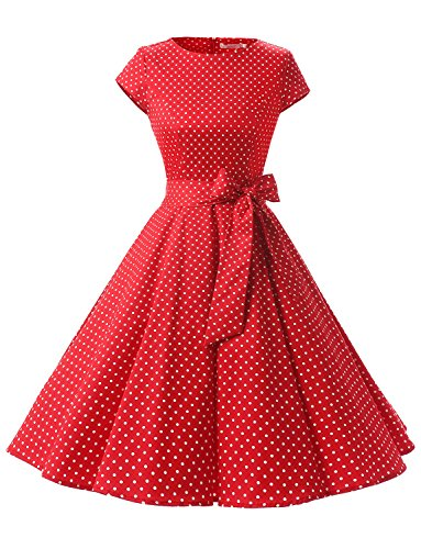 Dressystar DS1956 Women Vintage 1950s Retro Rockabilly Prom Dresses Cap-Sleeve L Red White Dot A