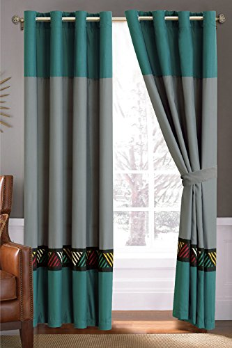 4-Pc Chic Southwest Triangle Embroidery Curtain Set Gray Black Teal Green-Blue Drape Sheer Liner Grommet