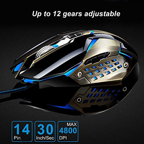 Length T03 USB 3200DPI Four-Speed Adjustable Custom Macro Light Wired Optical E-Sport Gaming Mouse Color : Black 1.5m Durable