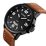CIVO Men's Big Face Brown Leather Band Luxury Dress Wrist Watch Mens Waterproof Date Calendar Black Dial