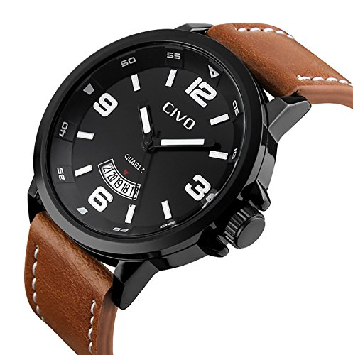 CIVO Men's Big Face Brown Leather Band Luxury Dress Wrist Watch Mens Waterproof Date Calendar Black Dial