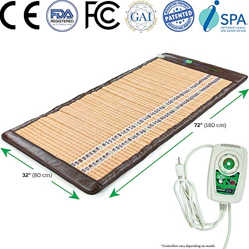 """HealthyLine Natural Infrared Amethyst Mat 3-in-1 Therapy Hot Stone FIR Heating Pad Negative Ion Mattress Pad - Auto Shut Off, Timing, Temperature Settings FDA Registered (72"""" x 32"""")"""