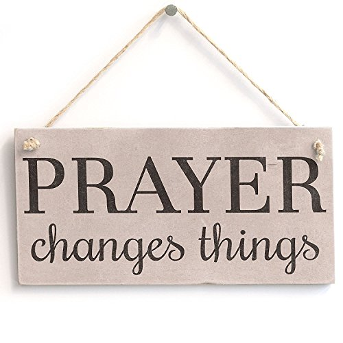 Meijiafei 'Prayer Changes Things' - Spiritual Religious Decor Sign - PVC Door Sign / Plaque 10