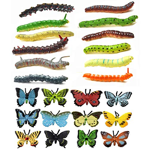 NiGHT LiONS TECH 24 pcs Insects Set, Emulational Caterpillar and Butterfly Educational Toy for -
