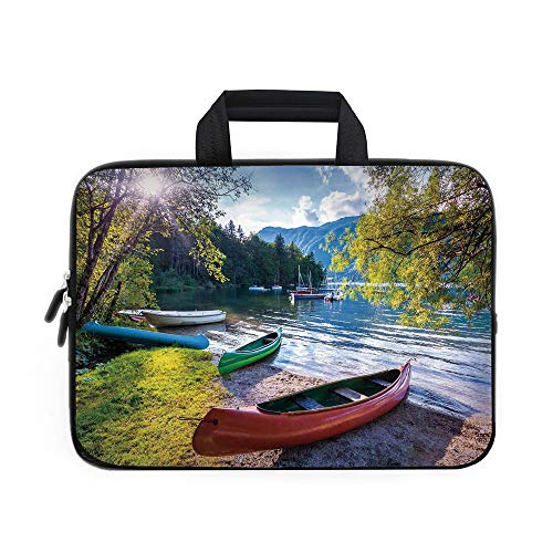 Landscape Laptop Carrying Bag Sleeve,Neoprene Sleeve Case/Bohinj Lake with Boats Canoes Triglav National Park Julian Alps Slovenia Print/for Apple Macbook Air Samsung Google Acer HP DELL Lenovo AsusMu