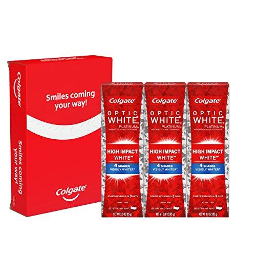 Colgate Optic White High Impact White Whitening Toothpaste, 3 Ounce, 3 Count