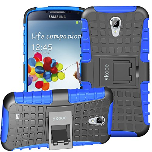(ykooe Samsung Galaxy S4 Case, sturdier Shockproof Phone Protection Case Dual Layer Protective Kickstand Shell for Samsung Galaxy S4 (Blue))