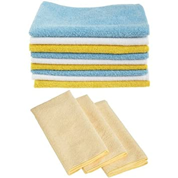 AmazonBasics Microfibre Cleaning Cloths Pack of 24 and Ultra-Thick ...