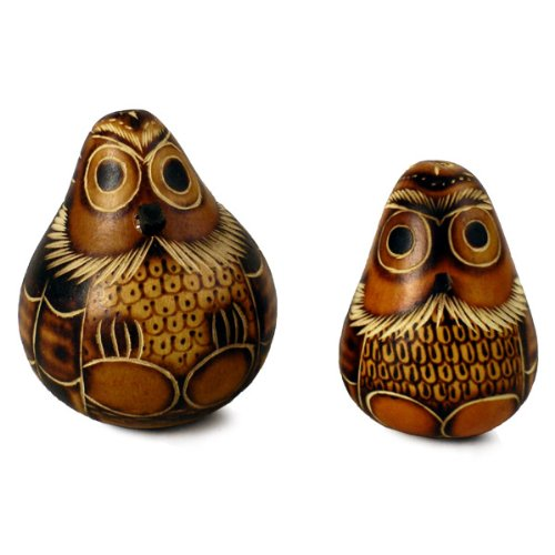Two Assorted Owl Rattle Pack Lot Peruvian Gourd Maraca Hand Carved Peru Crisp Sounds ()