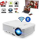 200 LCD LED HD Android Projector WiFi Wireless Bluetooth 3900 Lumen WXGA Multimedia Home Cinema Theater Video Projector 1080P Support HDMI VGA USB SD AV for Movie TV Video Game Outdoor Entertainment