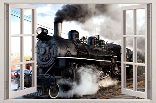 Train Window - Black Train 3D Window View Decal Graphic WALL STICKER Decor Art Mural H53, Large