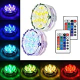 Litake Submersible LED Lights, RGB Multi Color Waterproof Battery Powered Lights with IR Remote Controller for Christmas Halloween Fountain Pool Hot Tub Wedding Pond Decoration Vase Party - 2 Packs