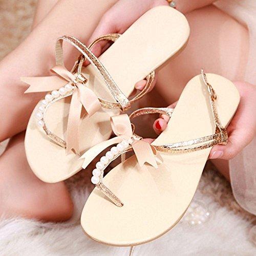 FANIMILA Moda Mujer Basic Planos Sandalias Chicas Colegio Flip Flop Zapatos with Bowknot Oro