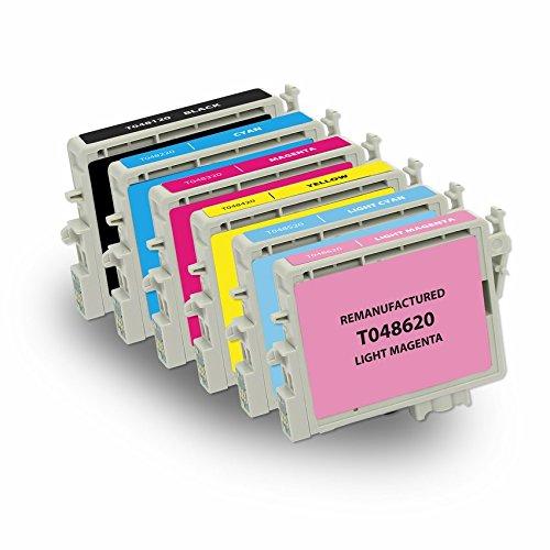 INKUTEN 6 Pack Remanufactured 48 / T048 / T048XL Ink Cartridges (1BK, 1C, 1M, 1Y, 1LC, 1LM) for Stylus Photo RX620 RX500 R320 R340 RX600 R300M R200 R220 R300