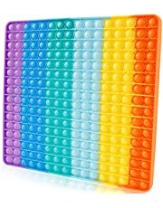 Extra Large Pop its Fidget Toy for Kids Teens Adult, Giant Jumbo Huge Very Large Big Push Pop Poppop Poop Popper Po it Figetget Sensory Austim Anxiety ADHD Stress Relief Outdoor Games Square Rainbow