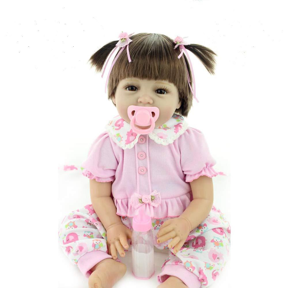 b020b0f9990a Yesteria Muñeca Bebé Recién Nacido Niña con Peluca Mirar Realista Niñita  Siliconas Rosa 55 cm