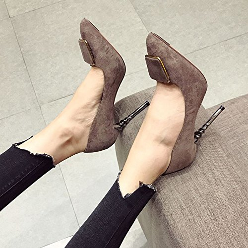 A Lady Spring Temperament Point 10 34 All Shoes Sexy Sandy Leisure High Work Elegant With 5Cm Shoes Heeled Match MDRW Fine Suede Zwc0qId1Z