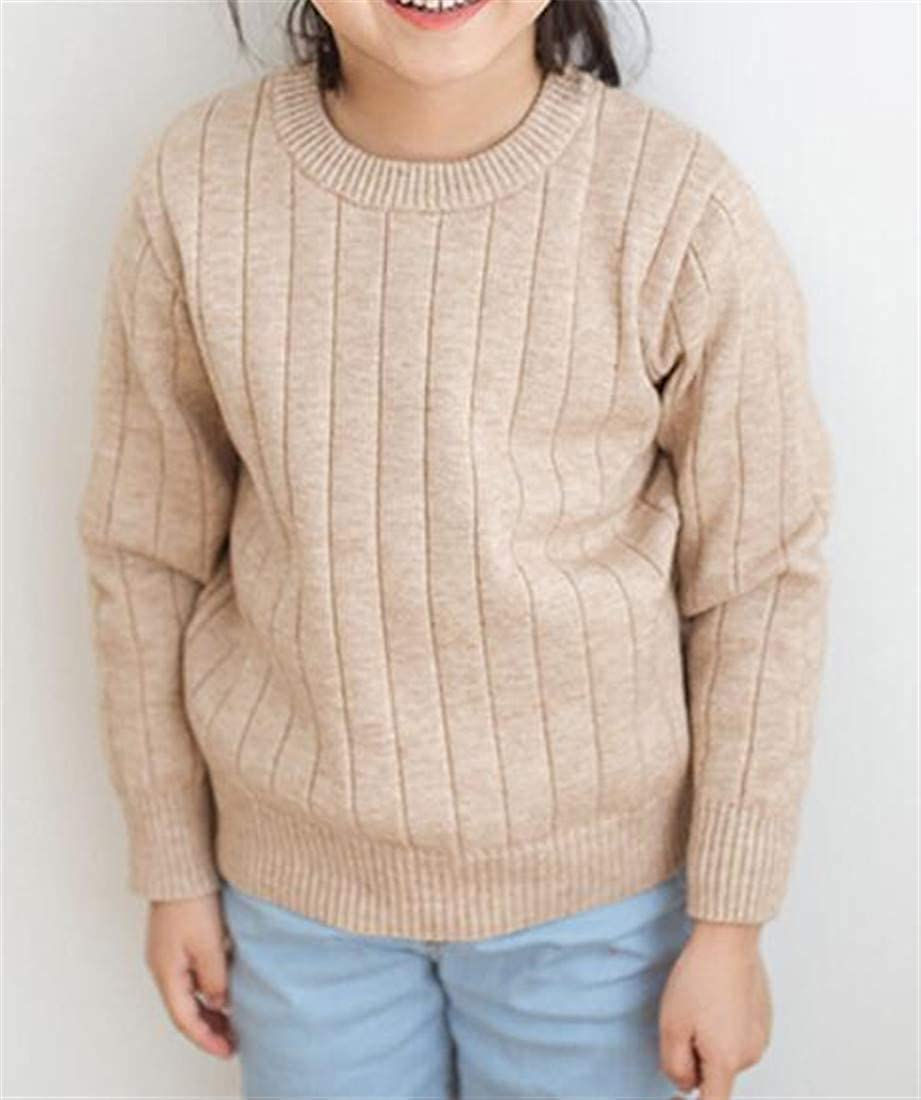 XiaoTianXinChildrenscostumes XTX Girl Comfort Knit Long Sleeve Pure Color Round-Neck Fall Pullover Sweaters