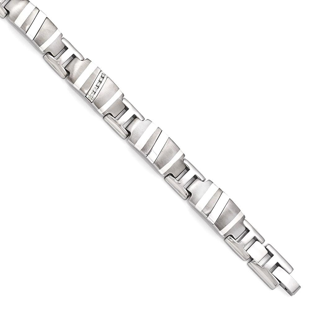 ICE CARATS Edward Mirell Titanium 925 Sterling Silver .10ctw Diamond Link Bracelet 8.5 Inch Fancy Man Cuff Men Fine Jewelry Dad Mens Gift Set