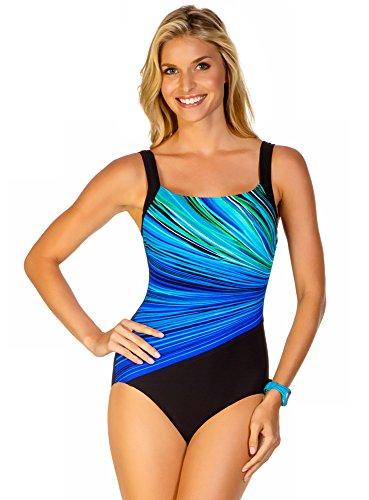 Reebok Women's Fire and Water One Piece Swimsuit, Blue, 8