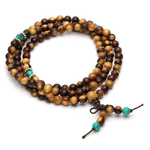 Milakoo 6mm108 Sandalwood Prayer Beads Mala Bracelet/Necklace for Buddha Meditation Tibetan