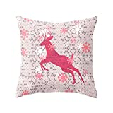 "Compia-17.7*17.7"" Square Cotton Linen Soft and Lightweight Merry Christmas Pink Père David's Deer Elk Pillow Cases Waist Throw Back Cushion Chair,Sofa,Car,Seat,Bed Decoration of Cushion Cover"