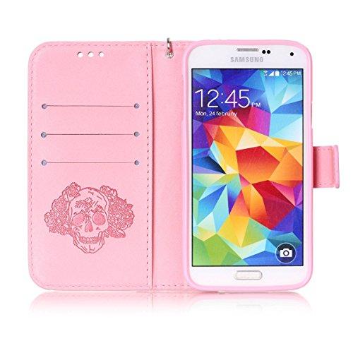 Funda Galaxy S5, Carcasa Plegable para Galaxy S5, Funda de piel Samsung S5, Lifetrut Sólido Shiny Sparkle libro de estilo funda de cuero con ranura para tarjetas de cierre magnético soporte funda de t E203-Cráneo en rosa