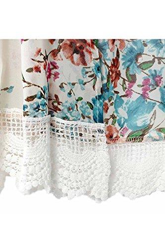 Floreale Aperta Chiffon Donne Cardigan Era Jumojufol White Coprire Lace Kimono Davanti Sqxg7wx5P6