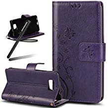 Samsung Galaxy S6 Edge Wallet Case,Galaxy S6 Edge Kickstand Case for girl,SKYMARS Butterfly Embossed PU Leather Flip Kickstand Cards Slot Wallet Magnet Stand Cover Case for Samsung Galaxy S6 Edge Butterfly Purple
