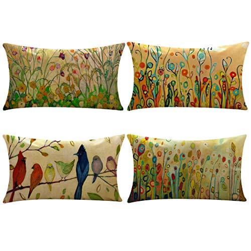 (Lumbar Waist Throw Pillow Case,Polyester Rectangle Cushion Cover Home Sofa Decorative 12