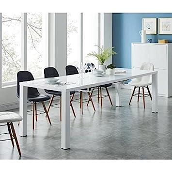 b751140b4ec26c THALES Table a manger extensible 6 a 10 personnes style contemporain laquée  blanc brillant + pieds