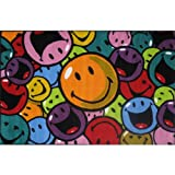 FindingKing Smiley Face Smiles & Laughs Area Rug 39″x58″ For Sale