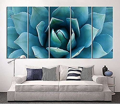 EZON-CH Large Wall Art Blue Agave Canvas Prints Agave Flower Large Art Canvas Printing Extra Large Canvas Wall Art Print 60 Inch Total by EZON-CH