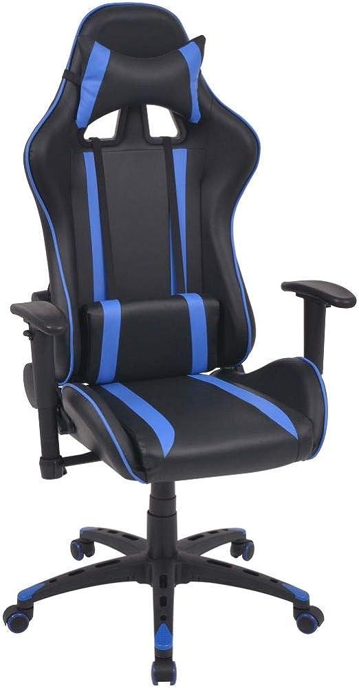 vidaXL Chaise de Bureau Inclinable Cuir Artificiel Bleu