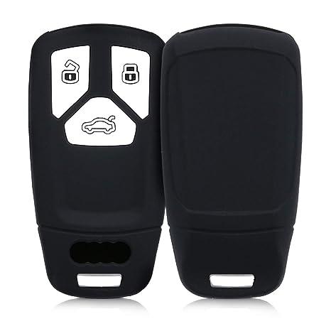 kwmobile Funda de Silicona para Llave Smartkey de 3 Botones para Coche Audi (Solamente Keyless Go) - Carcasa Protectora [Suave] de [Silicona] - Case ...