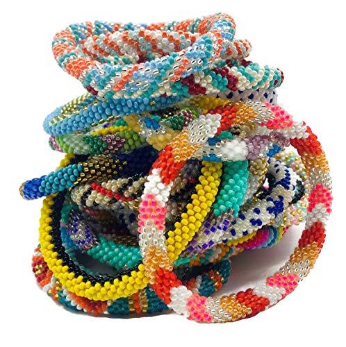 Kissed Karma Handmade Nepalese Glass Seed Bead Bracelet. 12 Pcs Set. Groovy Random Colors Mix.