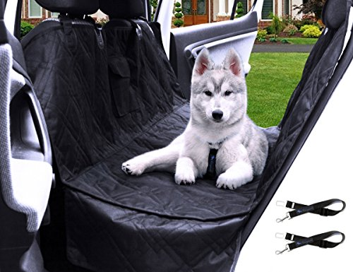 Transpawt Luxury Dog Car Seat Covers – Hammock Waterproof Pet Back Seat Cover for Cars, Trucks and SUVs – Black, 57″L x 55″W with additional 8″ Side Seat Protectors. Includes Bonus x2 Dog Seat Belts. Review