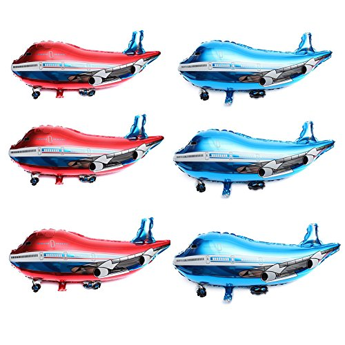 SUSHAFEN 6Pcs 32inch Airplane Balloon Toys Helicopter Balloons Flying Plane Shape Balloons Kids Birthday Party Decoration Christmas Decoration-Red,Blue -