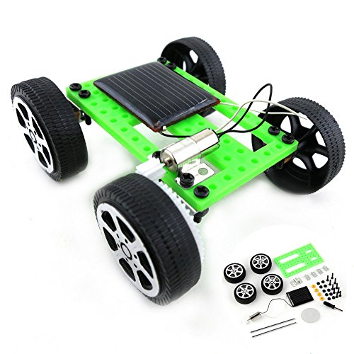 Green Solar Powered Toy,1 Set Mini Solar Powered Toy DIY Car Kit Children Educational Gadget Hobby Funny by Onefa from Onefa
