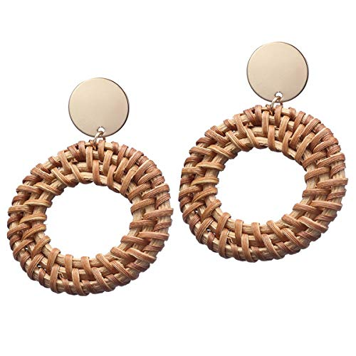 Pameny Rattan Earrings for Women Handmade Straw Wicker Braid Drop Dangle Statement Jewelry (Round B)