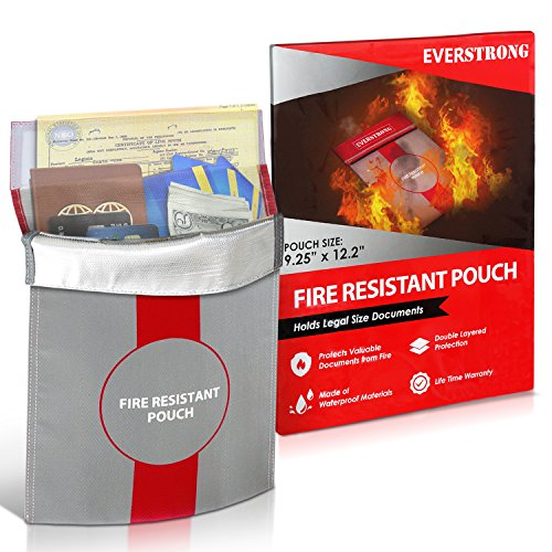 Fire Resistant Document Bag 15'' by 11'' Heavy Duty Fiberglass - Retardant Thread - Fireproof Safe Storage Pouch Money / Bank File / Passport / Legal Documents - Retardant Envelope Heat Protection - Fire Resistant File Folders