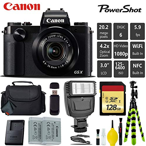 Canon PowerShot G5 X 20.2MP Point and Shoot Digital Camera + Extra Battery + Digital Flash + Camera Case + 128GB Class 10 Memory Card – International Version