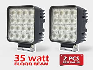 2pc Flood Wide Angle Beam Square 35W 2800lm High Power Work Light for Tractor Truck ATV 4WD Off Road Vehicle Driving Fog Lamp- 12V & 24V Universal