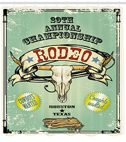 Ambesonne Western Shower Curtain, Retro Style Rodeo Championship Poster Bull Skull Large Horns with Banner Grungy, Fabric Bathroom Decor Set with Hooks, 75 Inches Long, ()