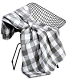 Wake In Cloud - Gray Plaid Blanket Throw, 100% Washed Cotton Fabric with Soft Microfiber Inner Fill, Buffalo Check Gingham Geometric Checker Pattern Printed in Grey and White (50'x60')
