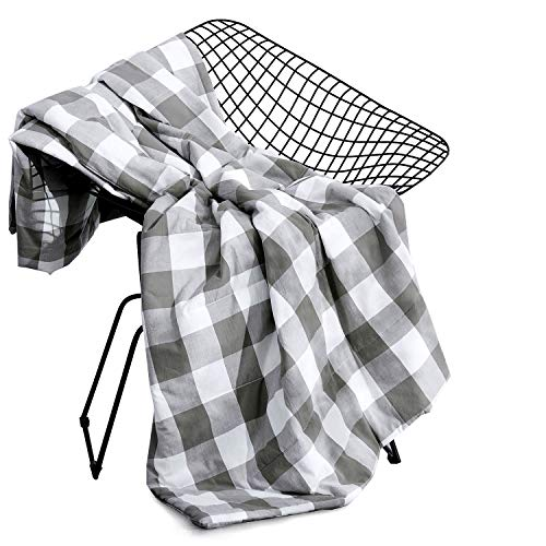 White Gingham Check - Wake In Cloud - Gray Plaid Blanket Throw, 100% Washed Cotton Fabric with Soft Microfiber Inner Fill, Buffalo Check Gingham Geometric Checker Pattern Printed in Grey and White (50