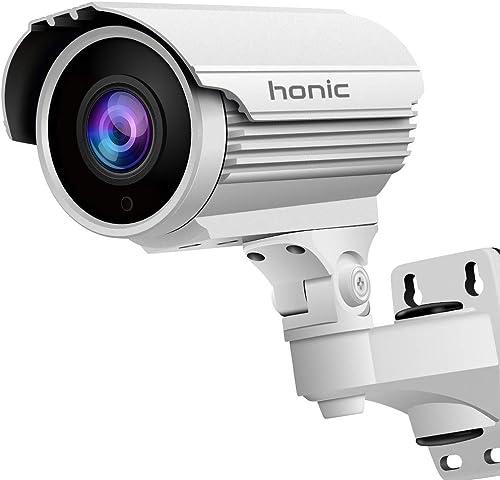 Bright Clear Night Vision 1080P Sony Exmor Sensor TVI AHD CVI 1200tvl 2.8-12mm Manual Zoom Security Camera, Honic 2MP Varifocal CCTV Cameras, Outdoor Waterproof Analog Camera for Video Surveillance